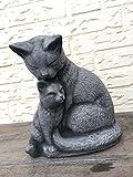 Steinfigur Gartenfigur Katzen Katze Figur Deko Garten Katzenfigur frostfest