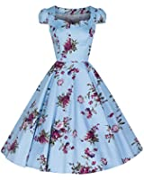 Pretty Kitty Fashion Sky Blue Blossom Floral Print Cotton 50s Dress