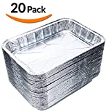 DOBI (20-Pack) Toaster Oven Pans - Disposable Aluminum Foil Toaster Oven Pans, Standard Size - 8 3/4' x 6'