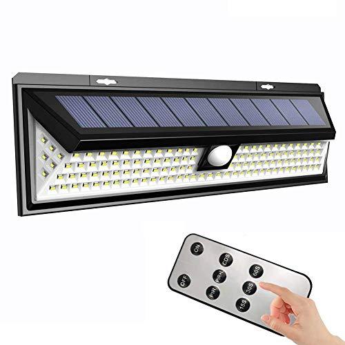 Relaxbx 118 LED Solarleuchten Outdoor wasserdichte Sicherheitsleuchten mit Fernbedienung und Bewegungsmelder 3 Modi Superhelle Wandleuchten für Gartenterrasse Hofzaun Gehweg -