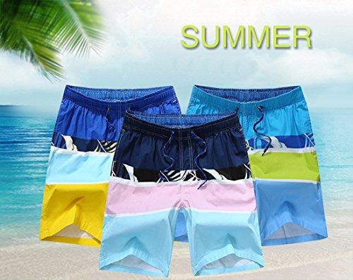 Honeystore Herren Freizeit Shorts Casual Mode Urlaub Strand-Shorts Mosaik-Farbe Sommerhose Blau Und Grün