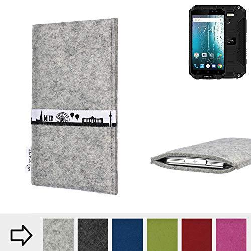 flat.design für Oukitel K10000 MAX Schutz Tasche Handyhülle Skyline mit Webband Wien - Maßanfertigung der Schutz Hülle Handytasche aus 100% Wollfilz (hellgrau) für Oukitel K10000 MAX