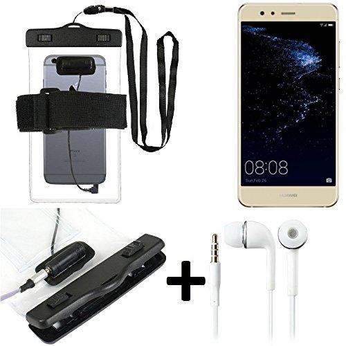 K-S-Trade Für Huawei P10 lite Dual-SIM Wasserdichte Hülle mit Kopfhörereinlass + Headset, transparent Jogging Armband Wasserfeste Handyhülle Beach Bag Outdoor Beutel Schutzhülle Unterwasser case für
