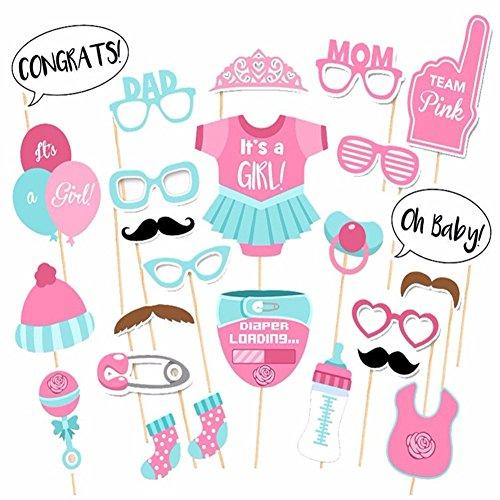 ster ITS A BOY GIRL Fun Photo Booth Requisiten Geburtstag Dekoration Blau Pink Kinder Party Maske Gastgeschenken Vintage Fotografie Supplies Pink (Baby-dusche-its A Boy)