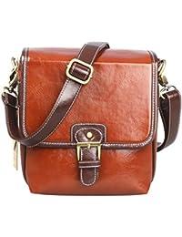 Koolertron-sac bandoulière sacoche étanche en PU cuir pour DSLR caméra appareil photo avec 1 objectif - pour Canon Sony Nikon Canon Olympus etc. (Brun)