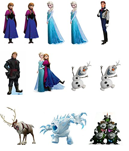 12 edible Premium design of the characters to place on the table Frozen grid of paper for ornaments