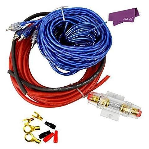 SalesLa 1000w Auto-Verstärker RCA Audio 8-Lehre Verdrahtung 60 Ampere AGU Sicherung Cable Kit