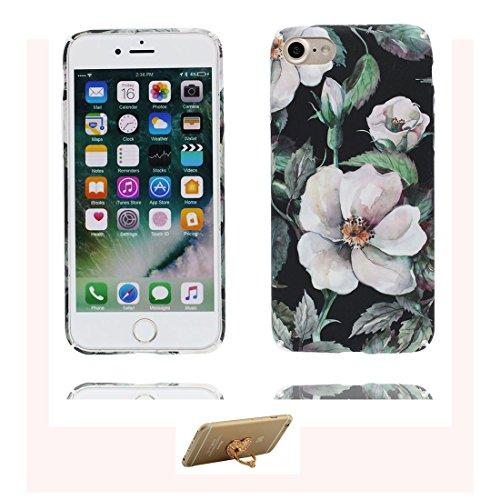 iPhone 7 Custodia, Copertura iPhone 7 4.7, | Peso leggero ultra sottile Silicone Gel Soft Gel | Cartoon Fashion iPhone 7 Case - bianca Fiore, Antigraffio e ring supporto Color 7