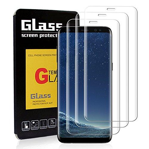 Preisvergleich Produktbild YSYS [ 3 Stück ] Samsung Galaxy S8 Schutzfolie S8 Panzerglas,  3D Gebogen gehärtet [Blasenfreie] [9H Härte] [HD klar] [Anti-Kratzen] [Einfache Installation] Glas Bildschirm Film für Samsung Galaxy S8