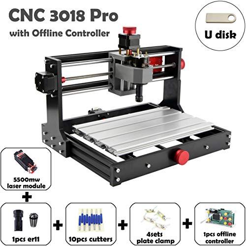 Mostics CNC 3018 Pro con módulo láser 5,5W Grabador del CNC Grabador láser Máquina de grabado CNC Máquina de grabado láser CNC de talla CNC router De la máquina(CNC 3018 Pro, contener 5.5W láser)