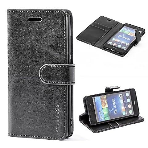 Mulbess Ledertasche im Ständer Book Case / Kartenfach für Huawei P8 Lite Tasche Hülle Leder Etui,Schwarz (nicht für das P8 Lite