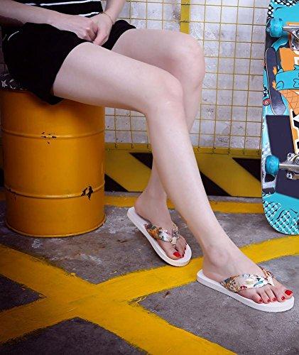 Saingace Frauen Sommer Sandalen Slipper Indoor Outdoor Flip-Flops Strand Schuhe Beige