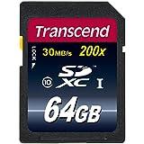 Transcend 64 Go Carte mémoire SDXC Classe 10 TS64GSDXC10E [Emballage « Déballer sans s'énerver par Amazon »]