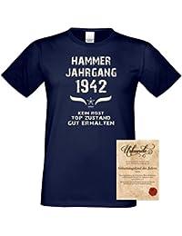 Geburtstagsgeschenk T-Shirt Männer Geschenk zum 75 .Geburtstag Hammer Jahrgang 1942 - auch in Übergrößen - Freizeitshirt Herren Farbe: navy-blau