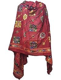 Skhoza Cotton Printed/embroidered Dupatta For Women-Kutch Gujarati Style