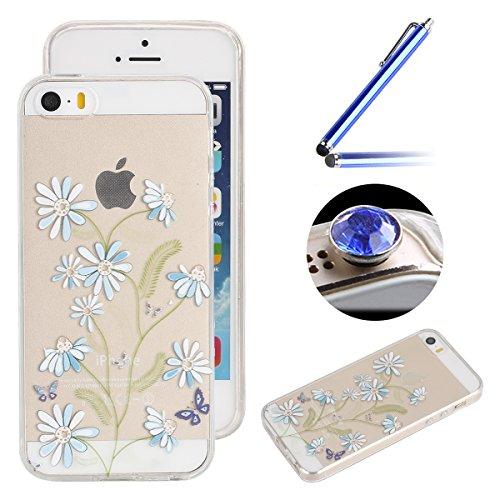 Etsue Coque pour Apple iPhone 6/6S 4.7,TPU Silicone Etui Case Cover pour Apple iPhone 6/6S 4.7,Haute Qualité Transparent Clair Soft Gel pour Apple iPhone 6/6S 4.7,Coloré Fleur Montre Campanula Motif S Fleur Bleu