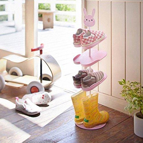 Kinder Schuhregal,GUOYI®Kreativ Drehen Schuhregal Aufbewahrungsregal Dreidimensional Karikatur Kinder Schuhregal(Hase)
