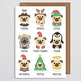 Hund Weihnachtskarte - Mops Weihnachtskarte - Mops Weihnachtskarte - Puguin - Pugding - lustige Weihnachtskarte - Haustier Weihnachtskarte - vom Hund - lustig - niedlich - Tochter - Mama