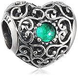 Pandora cuore Charm da donna in argento 925–791784, argento, colore: Grün (Mai), cod. 791784NRG
