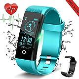 LIGE Fitness Tracker mit Pulsmesser,Aktivitäts Tracker Uhr mit Schrittzähler,Kalorienzähler Uhr,Blau Smart Armband für Kinder,Frauen,Männer +Geschenk
