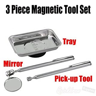 Rolson 3pc Stainles Steel Magnetic Tray Telescopic PickUp Tool + Mirror