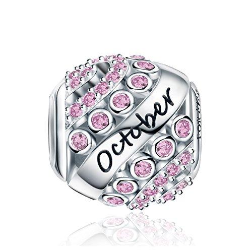 Forever Queen Oktober Geburtsstein Charm Bead für Damen 925 Sterling Silber, zum Geburtstag, 12 Farben, Jan - Dez, Pandora Anhänger für Armband und Halskette FQ0004-10