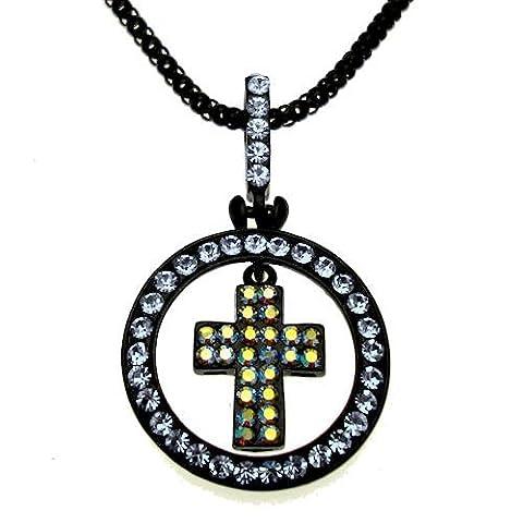Acosta Jewellery–Blau Swarovski Kristall–Schwarz Reifen & Kreuz Gothic Halskette–Geschenk (Swarovski Sapphire Kreuz)
