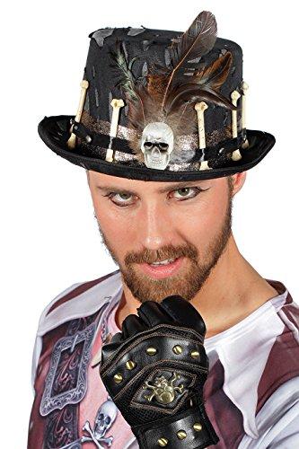 Halloween Zylinder Los Muertos in schwarz | Einheitsgröße Erwachsene | Steam-Punk oder Kanibalen-Zylinder-Hut (Halloween Steampunk Kostüme)