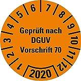 LEMAX® Prüfplakette Geprüft nach DGUV Vorschrift 70,2020,orange,Dokufolie,Ø 30mm,18/BOG