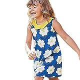 JUTOO Kinder Kind Baby Mädchen mit Blumenmuster ärmellose Prinzessin Dress Casual Kleidung (Blau,5-6Y)
