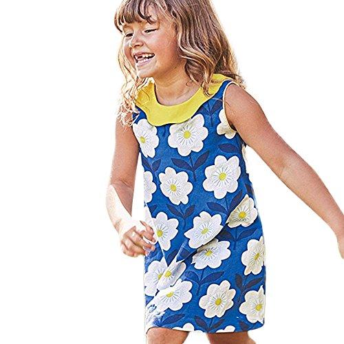 JUTOO Kinder Kind Baby Mädchen mit Blumenmuster ärmellose Prinzessin Dress Casual Kleidung (Blau,3-4Y)