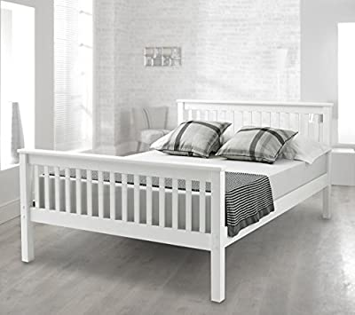 Happy Beds Bed Lisbon Contemporary Lacquered Solid Pine Wood Mattresses Comfort - low-cost UK light store.