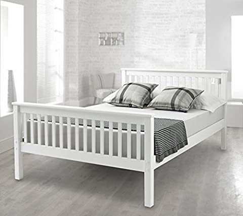 Happy Beds Lisbon High Foot End Bed Contemporary White Finish Solid Pine Wood Memory Foam Mattress 4' Small Double 120 x 190