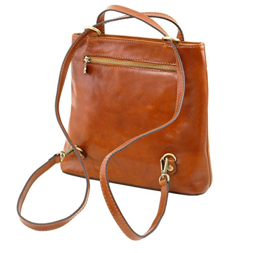 Tuscany Leather Martina - Borsa donna in pelle convertibile a zaino Marrone Zaini in pelle Marrone