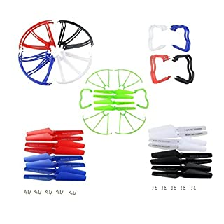 Aiskaer Upgraded 5 Colors Syma X5 X5C X5C-1 Version Spare Parts Included Main Blade Props Propellers & Propeller Protectors Blades Frame & Mounting Screws for Syma X5 Series RC Mini Quadcopter Toy