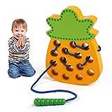 leadstar en bois de laçage jouet, montessori activité bois ananas jouet, enfants apprentissage