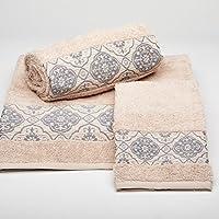 Burrito Blanco Juego de Toallas de Baño 190 Lisas con Cenefa Jacquard 3 Piezas (1