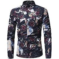 WULIFANG Impresión Floral Moda Hombres Camiseta De Manga Larga Y Delgada De Algodón Camisa De Hombre Casual Negro XXXL