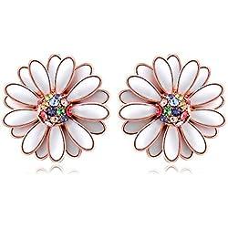 wo-dreams bañado en oro rosa romántico blanco Daisy joyería con Gem de colores, Necklace+Earrings+Ring