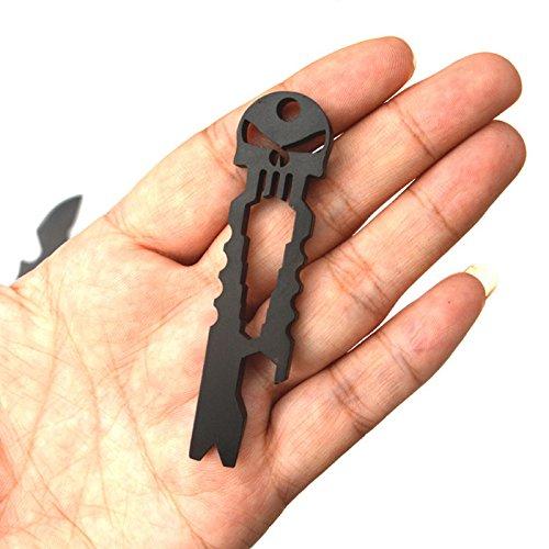 Edelstahl multifunktional EN PLEIN AIR EDC Überleben Werkzeug-Taschenlampe Schlüsselanhänger Kette Flaschenöffner schwarz