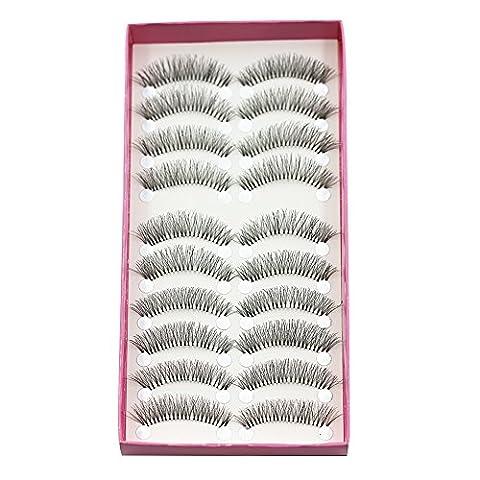 Bluelans® 10 Paar Starke Lange Künstliche Falsche Wimpern Weiche Eyelasches