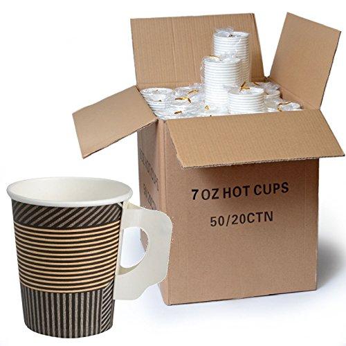 1000 x Kaffeebecher mit Henkel 0,18 l Enjoy Hartpapier - Becher Pappbecher Coffee To go 180ml
