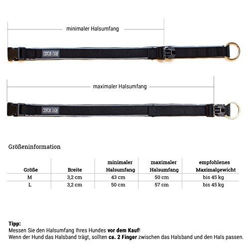 KURI PAI Feelgood Halsband, Größe M (43-50cm) schwarz. Gepolstertes Hundehalsband. Reflektierend. Gepolstert mit Neopren. Obermaterial aus Bambusfaser - 6