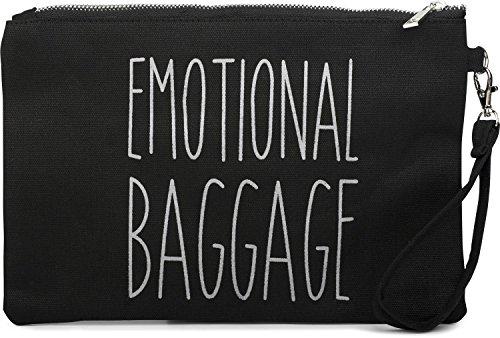 styleBREAKER Statement Handtaschen Organizer mit 'EMOTIONAL BAGGAGE' Aufdruck, Kosmetiktasche, Innentasche, Tasche, Damen 02013009, Farbe::Schwarz