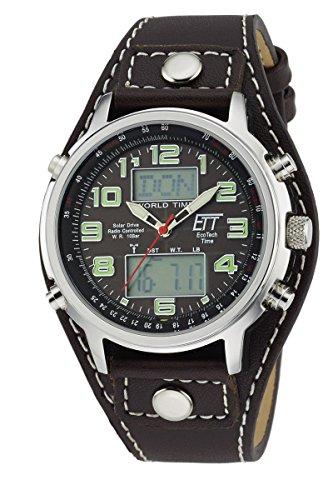 ETT Eco Tech Time Funk Solar Weltzeit Herren Uhr Chronograph mit Leder Armband EGS-11303-21L