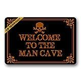 Fußmatten Welcome to the Man Cave Skull Head Gummi rutschfeste Fußmatte Eingang Teppich Fußmatte strapazierfähig Home Innen Mats 59,9x 39,9cm