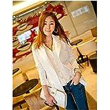 Evtech (tm) de las nuevas mujeres del estilo de la moda casual de manga larga capa delgada floja Drape Cardigan largos abrigos delgada Outwear Blanco - XL