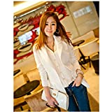 Evtech (tm) Frauen New Fashion Style Casual Langarm-Thin Lose Drape Cardigan Coat Lange Wraps Schlank Outwear Weiß - XL