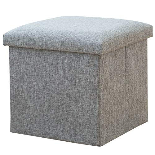 LJXJ Quadratischer Rest fußhocker Cube Sitz, Lagerung Polyester Speicher bänke Leinenstoff Osmanen Bank, Unordnung Spielzeug, Platz sparend Stapelbare lagerung Hocker-A 40x25x25cm(16x10x10) (Speicher-cube Sitz)