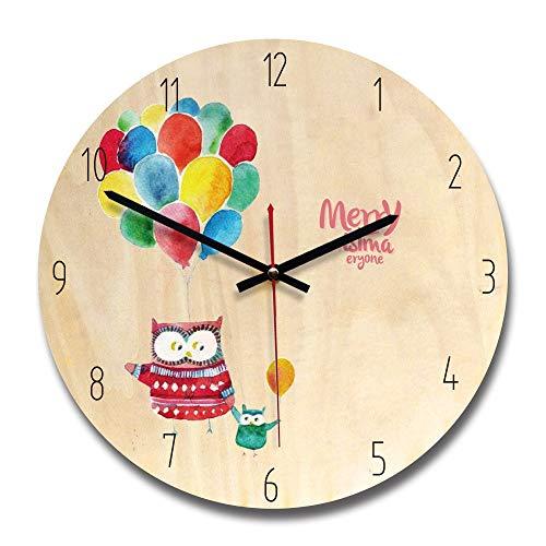 CWHDLS 28 cm Hause Dekorative Cartoon Luftballons Kreative Holz Schöne MädchenWanduhrenFür Wohnzimmer Tv HintergrundWpc003B